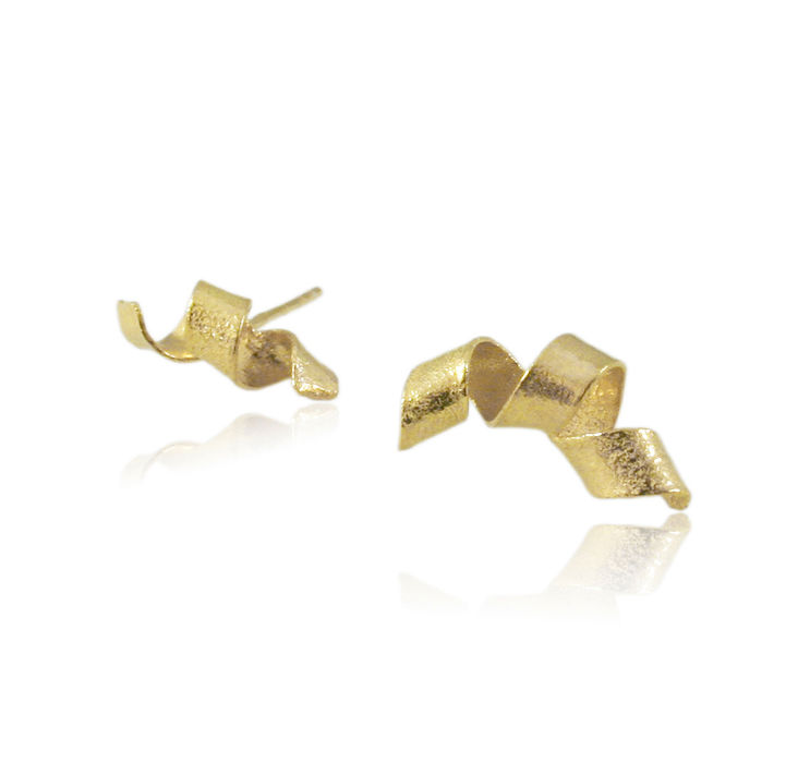 Algae spiral earrings Gold - product images  of