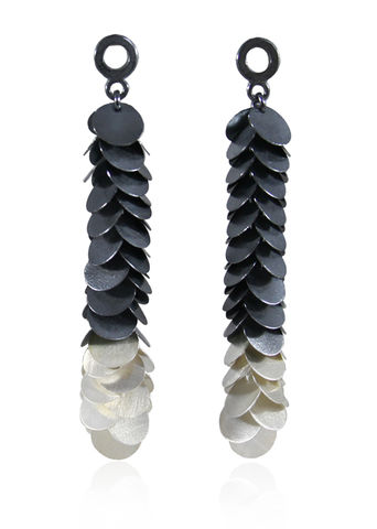Petals,Earrings,Black,/,Silver,Long necklace, organic necklace, silver long necklace, moving necklace, tickle, petals