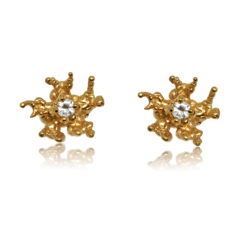 Coral reef earrings Gold with Topaz - product images  of