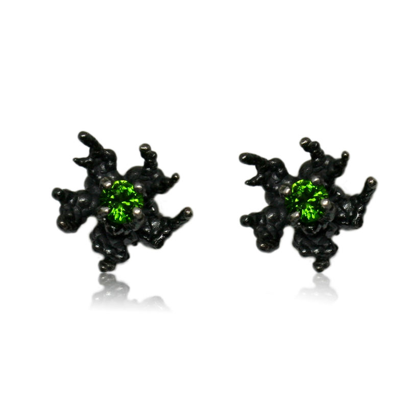 Coral reef earrings Black with Diopsyd - product images  of