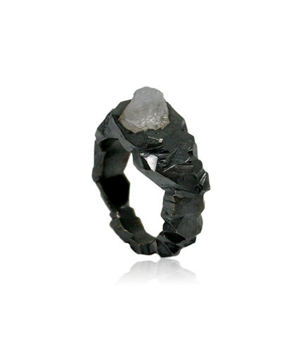 Carved,In,The,Rock,Ring,Black,with,Fluorite,fluorite ring, rock ring, mountain ring, karolina bik ring, rocky ring, stone ring