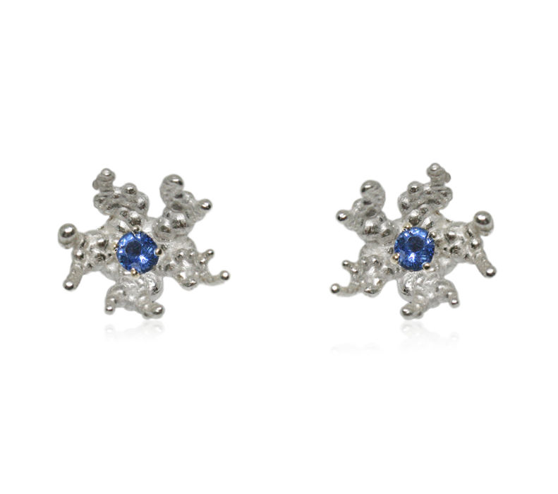 Coral reef earrings Silver with Sapphire - product images  of