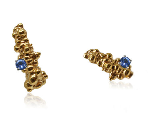 Mammatus,Earrings,Gold,with,Sapphire,sapphire , nature, natural, earrings, gold earrings, sapphire earrings,