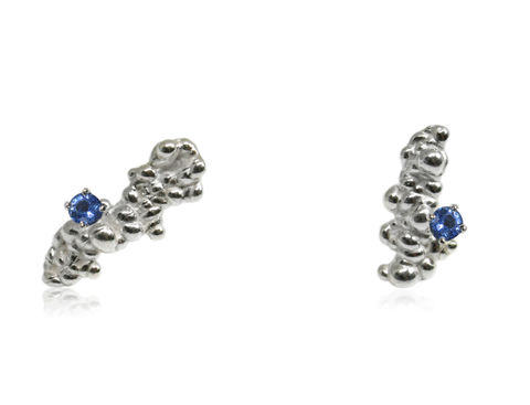 Mammatus,Earrings,Silver,with,sapphires,sapphire , nature, natural, earrings, silver earrings, sapphire earrings,