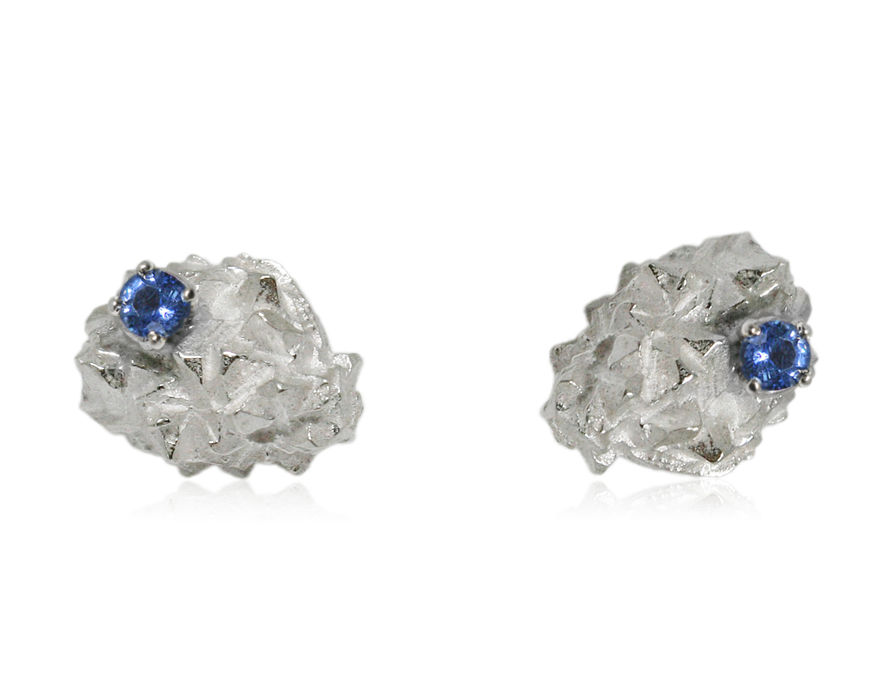 Mordor earrings Silver with Sapphire - product images  of