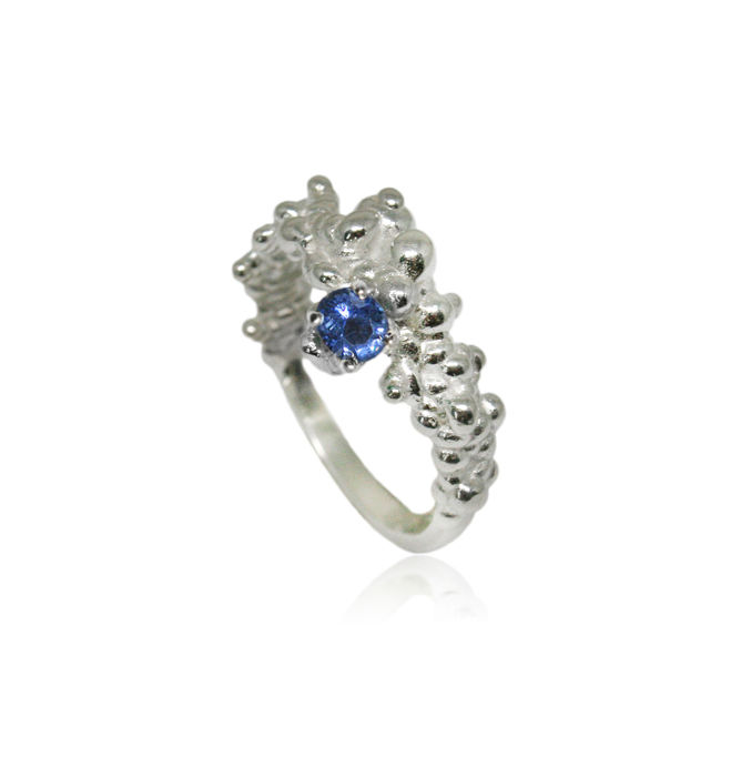 Mammatus ring Silver with sapphire  - product image