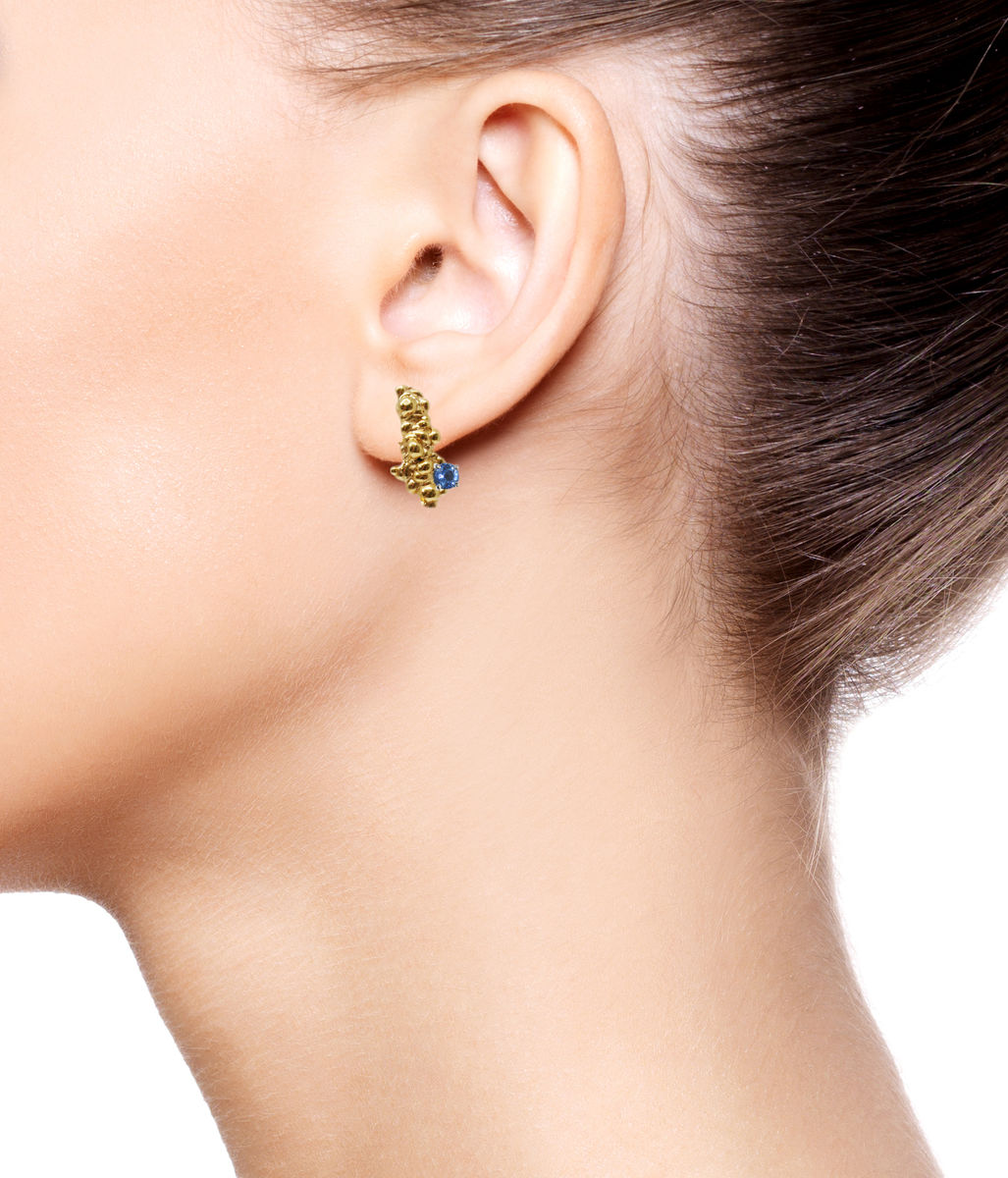 Mammatus Earrings Gold with sapphires - product images  of
