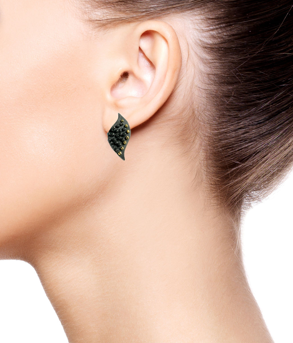 Mariposa Earrings Black with 14k gold - product images  of