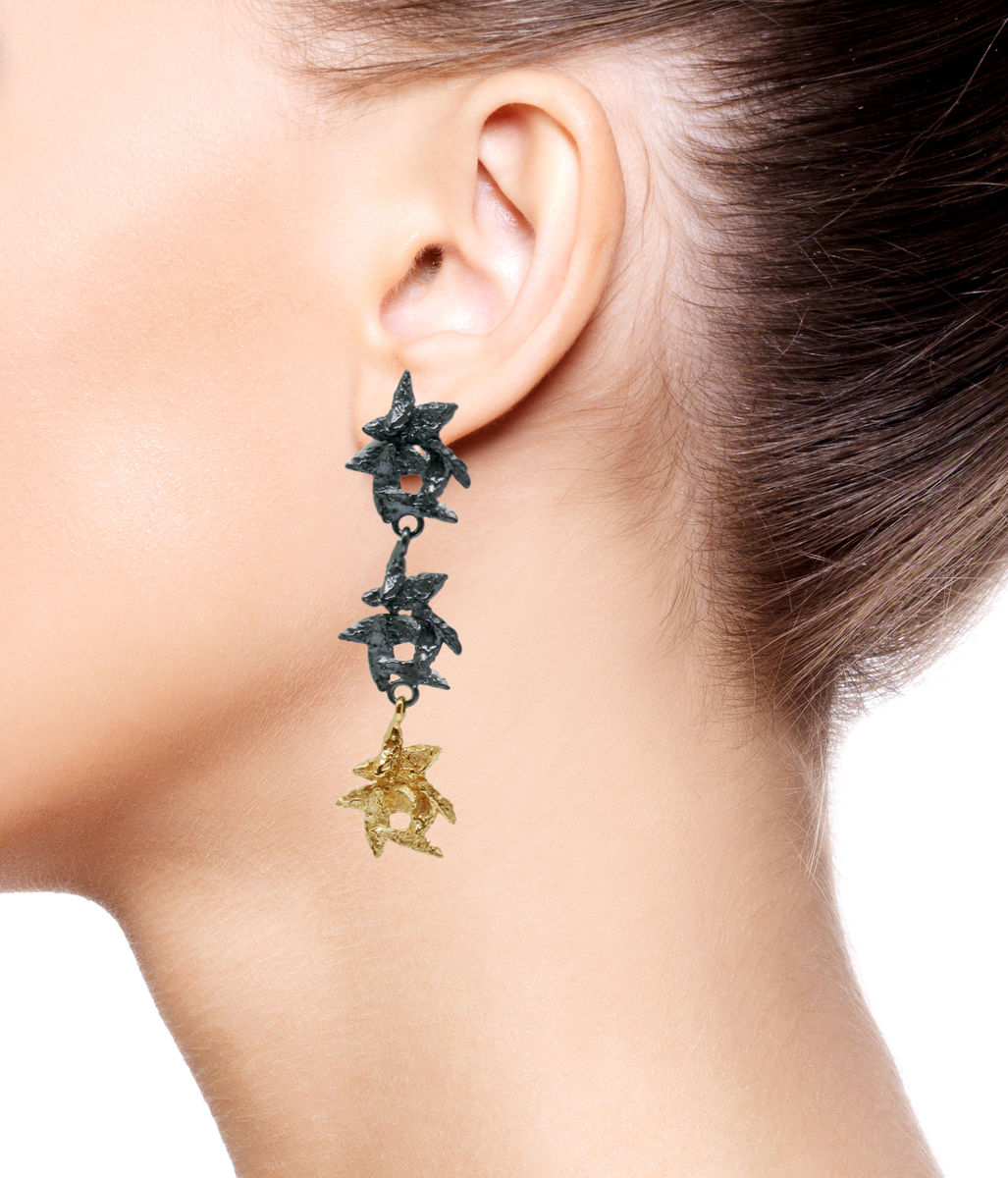 Flake Long Earrings Black/ Gold - product images  of