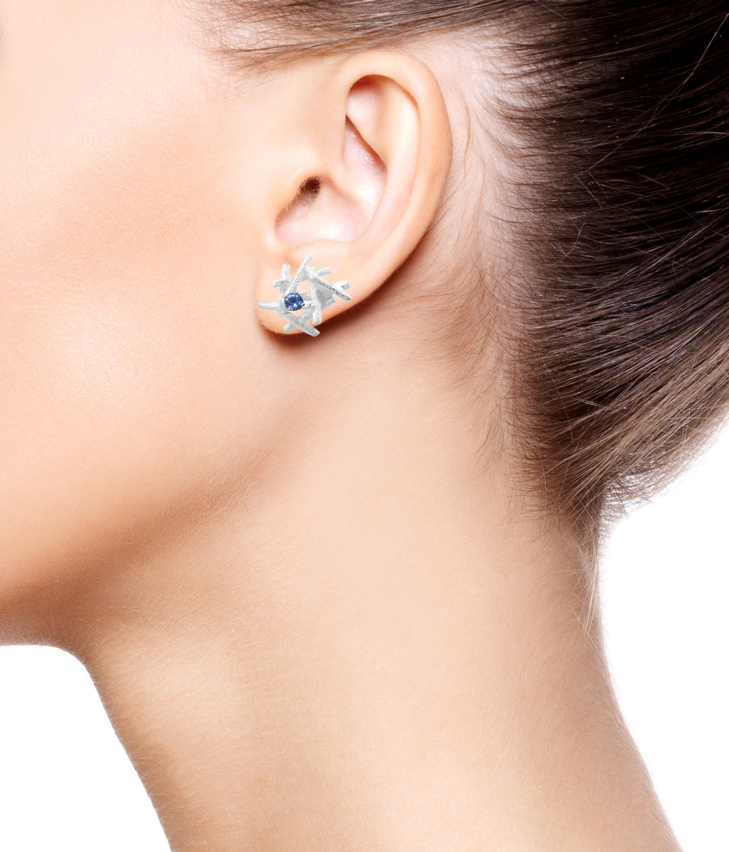 Nest  Earrings White with Sapphire - product images  of