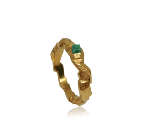 Carved,In,The,Rock,Ring,Gold,With,Emerald,emerald ring, rock ring, mountain ring, karolina bik ring, rocky ring, stone ring