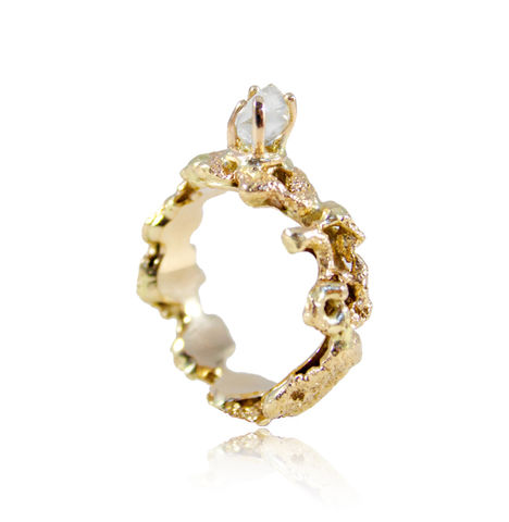 Out,of,the,Sea,Ring,in,14k,gold,with,0,25,ct,white,raw,diamond, 14k, brilliant, diamond, ring, artisan, jewellery, handmade, white raw diamond
