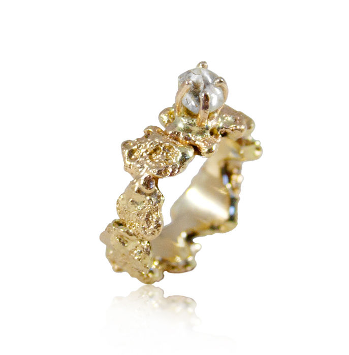 Out of the Sea Ring in 14k gold with 0,25 ct white raw diamond - product images  of