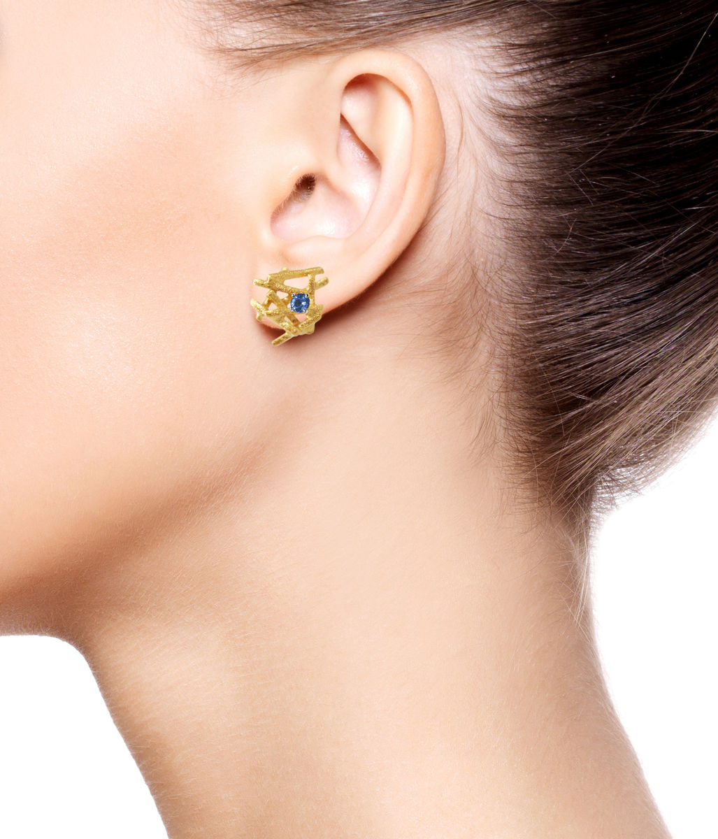 Nest  Earrings Gold with Sapphire - product images  of