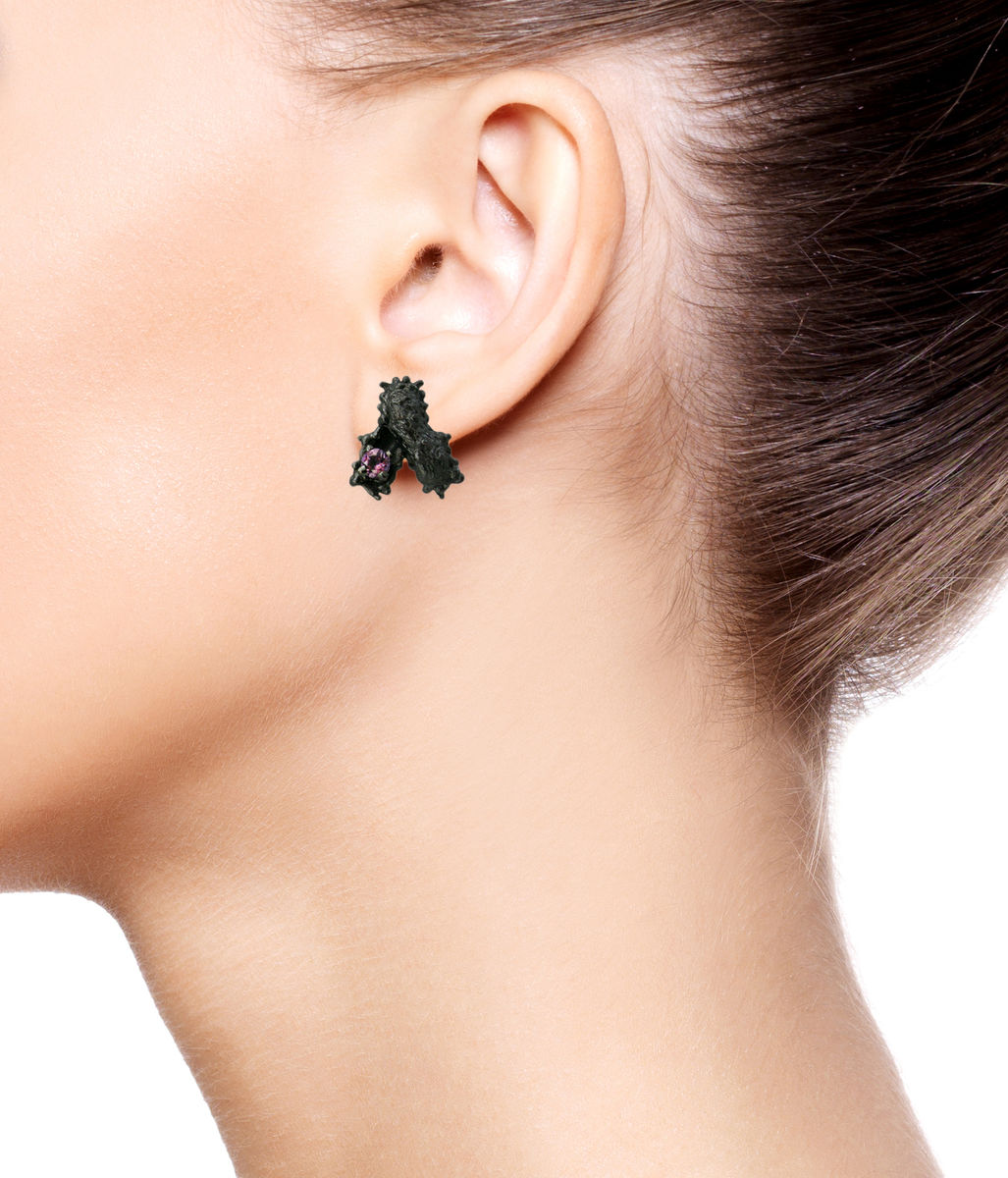 Caterpillar double earrings with stone (different colors) - product images  of