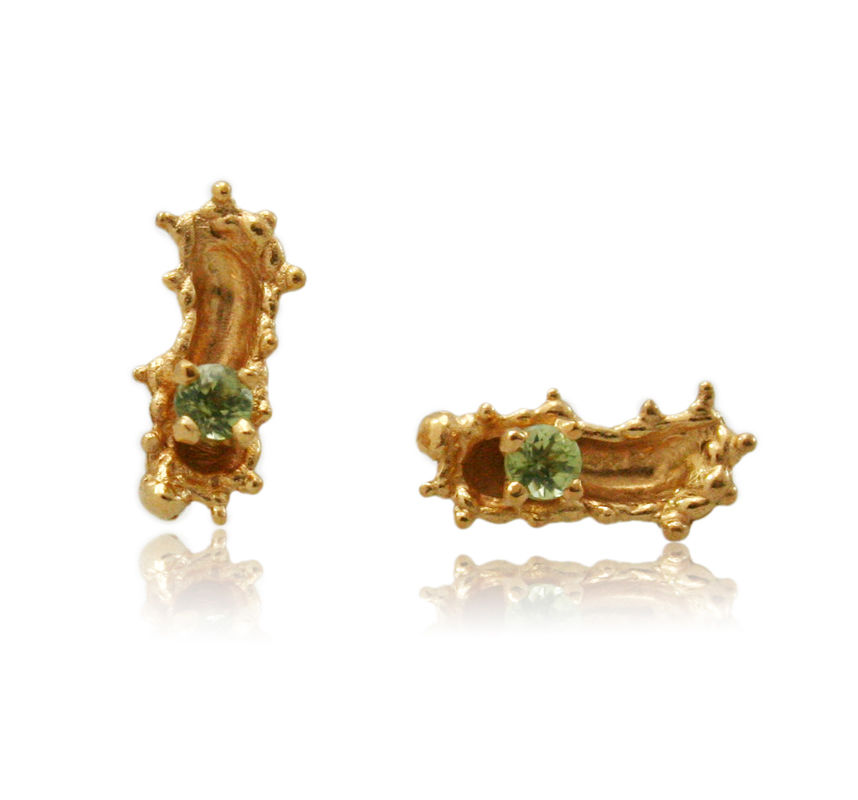 Caterpillar earrings Gold with stone  - product images  of