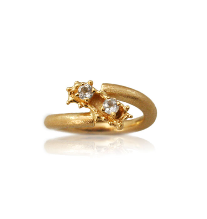 Caterpillar ring Gold with Topaz - product image