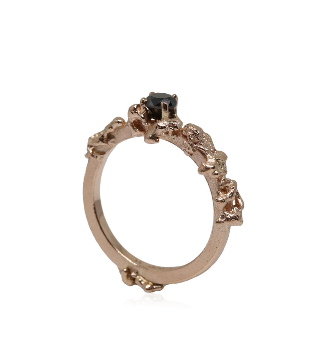 Out of the Sea Growth Ring in 14k rose gold with 0,25ct black diamond - product images  of