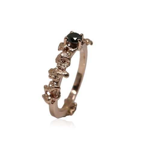 Out,of,the,Sea,Growth,Ring,in,14k,rose,gold,with,0,25ct,black,diamond, 14k rose  gold, engagement ring, sapphire ring, sapphire jewellery, art jewellery, ring, hand made, hand crafted, out of the sea, sea ring,, from sea ring, seaside ring