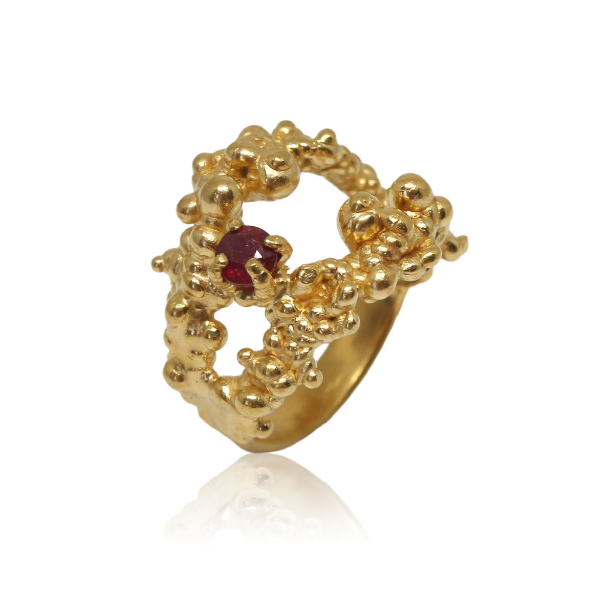Mammatus Gold Ring With Ruby - product images  of