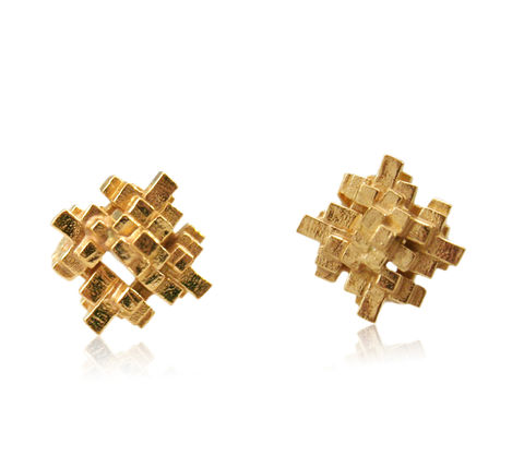Tetris,Square,Earrings,Gold,tetris earring, tetris, game earring, game, puzzle earring, puzzle, gold , square