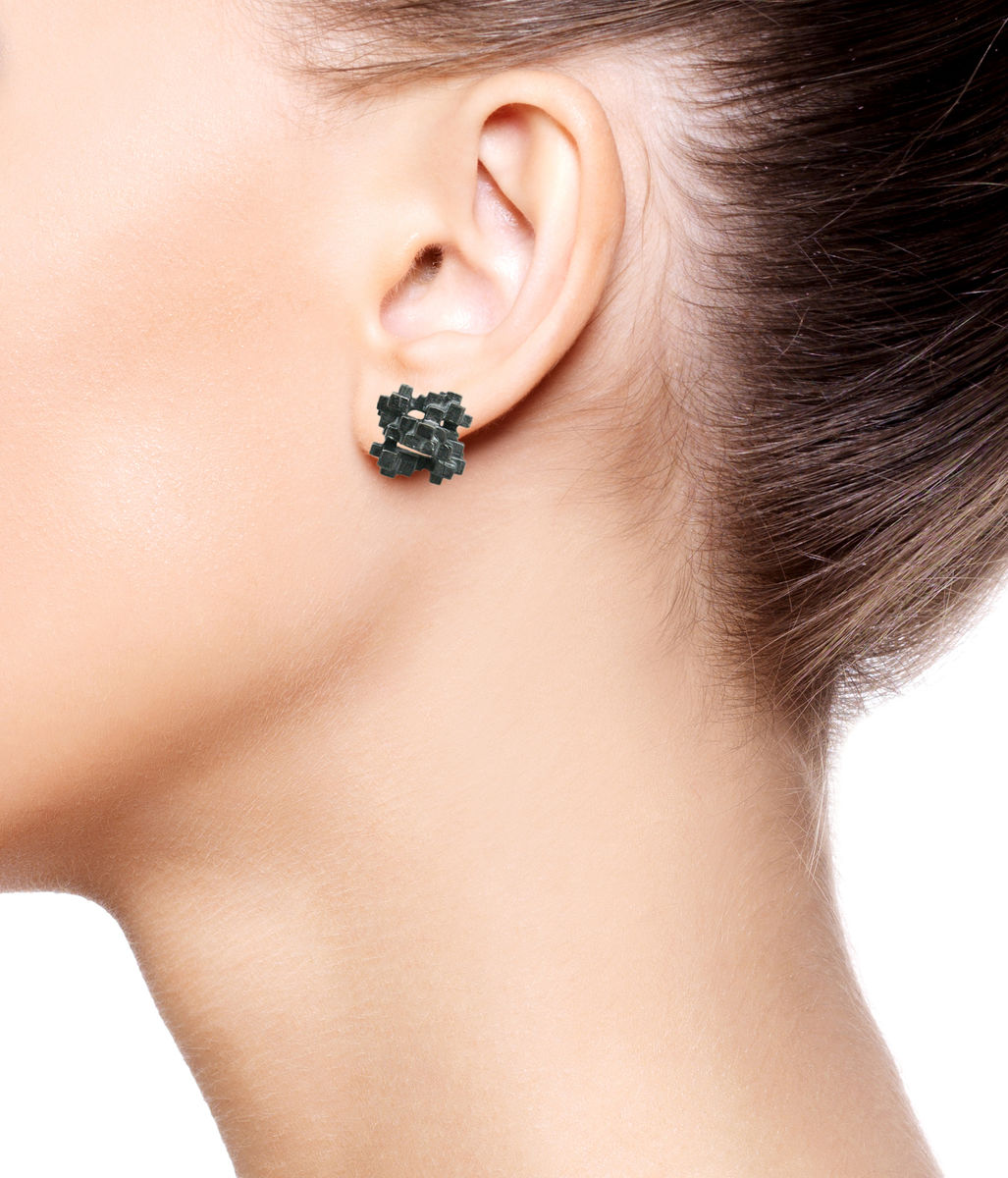 Tetris Square Earrings Black - product images  of