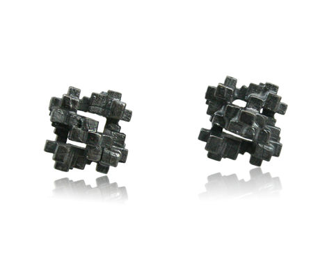 Tetris,Square,Earrings,Black,tetris earring, tetris, game earring, game, puzzle earring, puzzle, black, square, oxidized