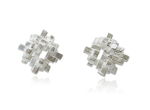 Tetris,Square,Earrings,Silver,tetris earring, tetris, game earring, game, puzzle earring, puzzle, silver, square