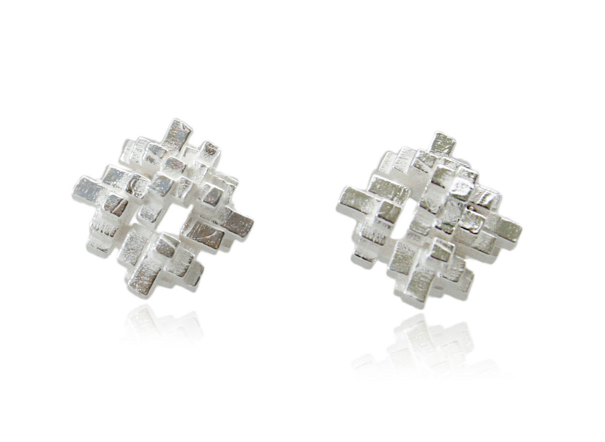 Tetris Square Earrings Silver - product images  of