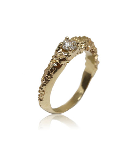 Rocky,Ring,in,14k,yellow,gold,with,0,25,carat,white,diamond, 18k, brilliant, diamond, ring, artisan, jewellery, handmade