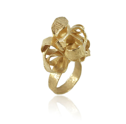 Algae,Big,Ring,Gold,algae jewelry, plant jewelry, karolina bik , vegan jewelry, flower jewelry, algae necklace, necklace, karolina bik jewelry