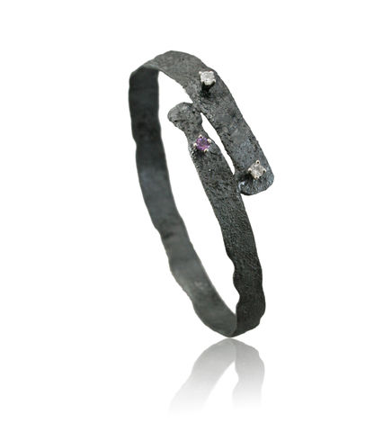 Algae,bracelet,Black,with,topaz,and,amethyst.,algae jewelry, plant jewelry, karolina bik , vegan jewelry, flower jewelry, algae necklace, bracelet, karolina bik jewelry