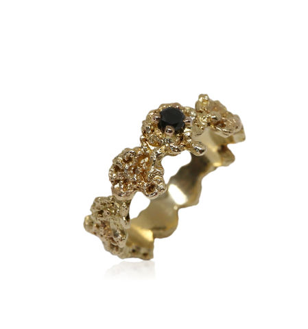 Out,of,the,Sea,Ring,in,14k,gold,with,0,11,ct,black,diamond, 18k, brilliant, diamond, ring, artisan, jewellery, handmade, sapphire ring
