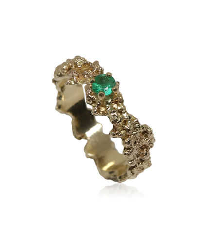 Out,of,the,Sea,Ring,in,14k,gold,with,0,25,carat,emerald, 18k, brilliant, diamond, ring, artisan, jewellery, handmade