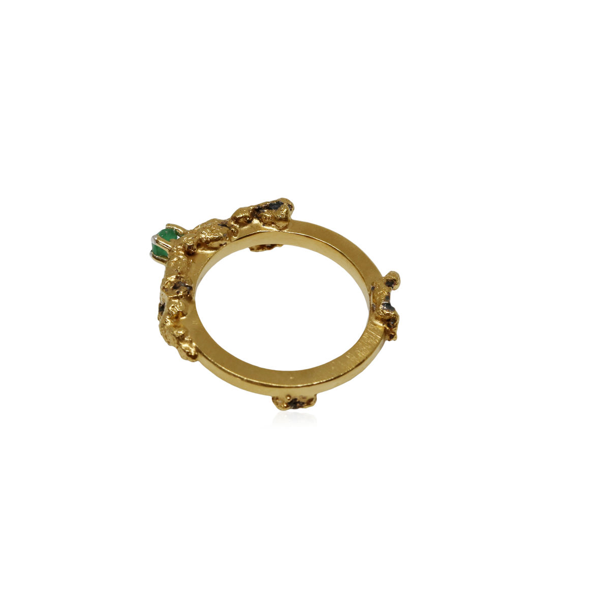 Out of the Sea Growth Ring with single raw emerald - product images  of