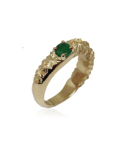 Rocky,Ring,in,14k,yellow,gold,with,0,25,carat,emerald, 18k, brilliant, diamond, ring, artisan, jewellery, handmade
