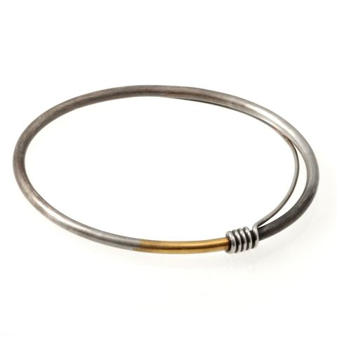 Coil,Bangle,bangle, oval bangle, silver and gold bangle, machine aesthetic, made in london, made in britain, anastasia young jewellery, keum boo bangle, machina bangle, ©anastasia young, contemporary jewellery