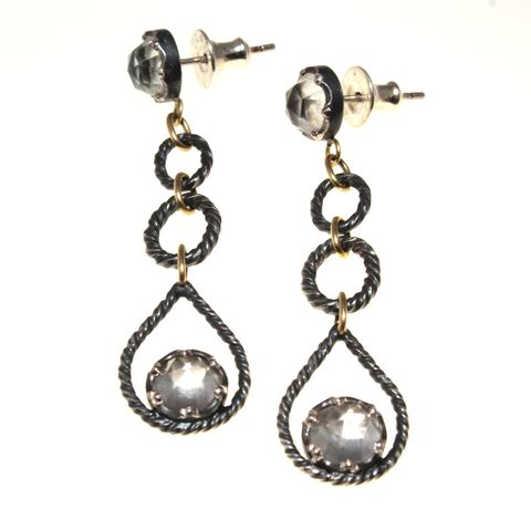 Cras,Tibi,Drop,Earrings,silver, topaz, rose cut, garnet, drop earrings, chandelier