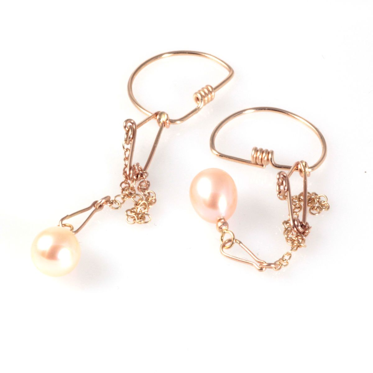 Pearl Safety Chain Earrings, Gold - product image