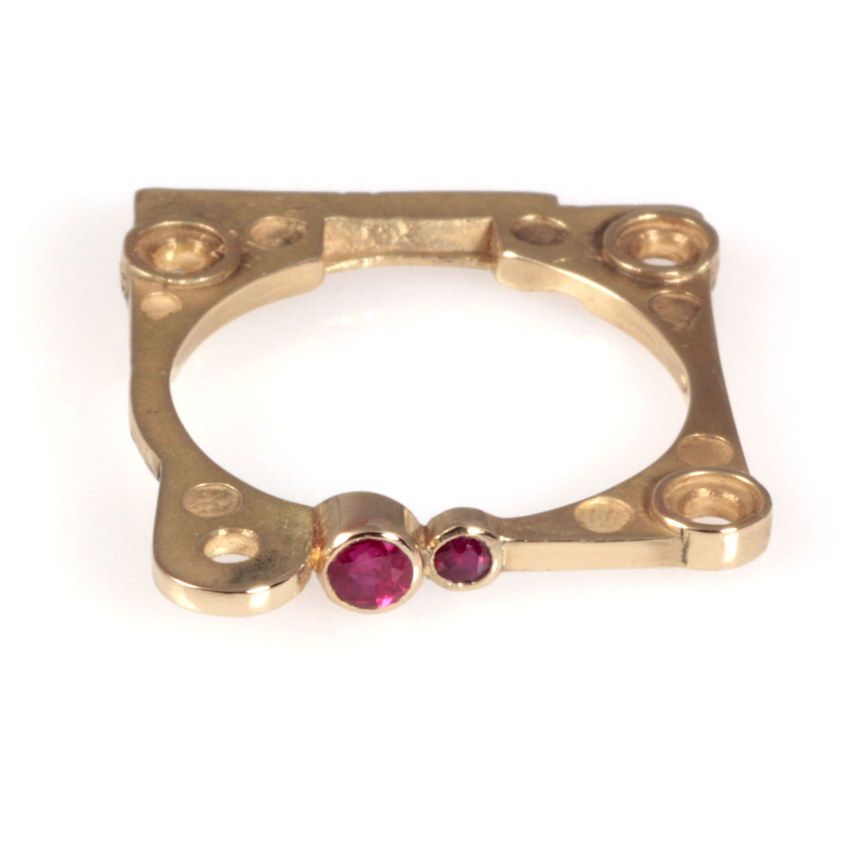 Gold 4/2 Ring, 18ct Yellow with Rubies  - product image
