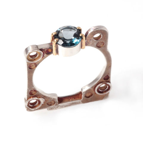4/2,Ring,,Topaz,anastasia young, ring, silver, london blue topaz, industrial, gemstone, tube setting, claw setting, prong setting, made in London, machina, machina collection, anaesthesija