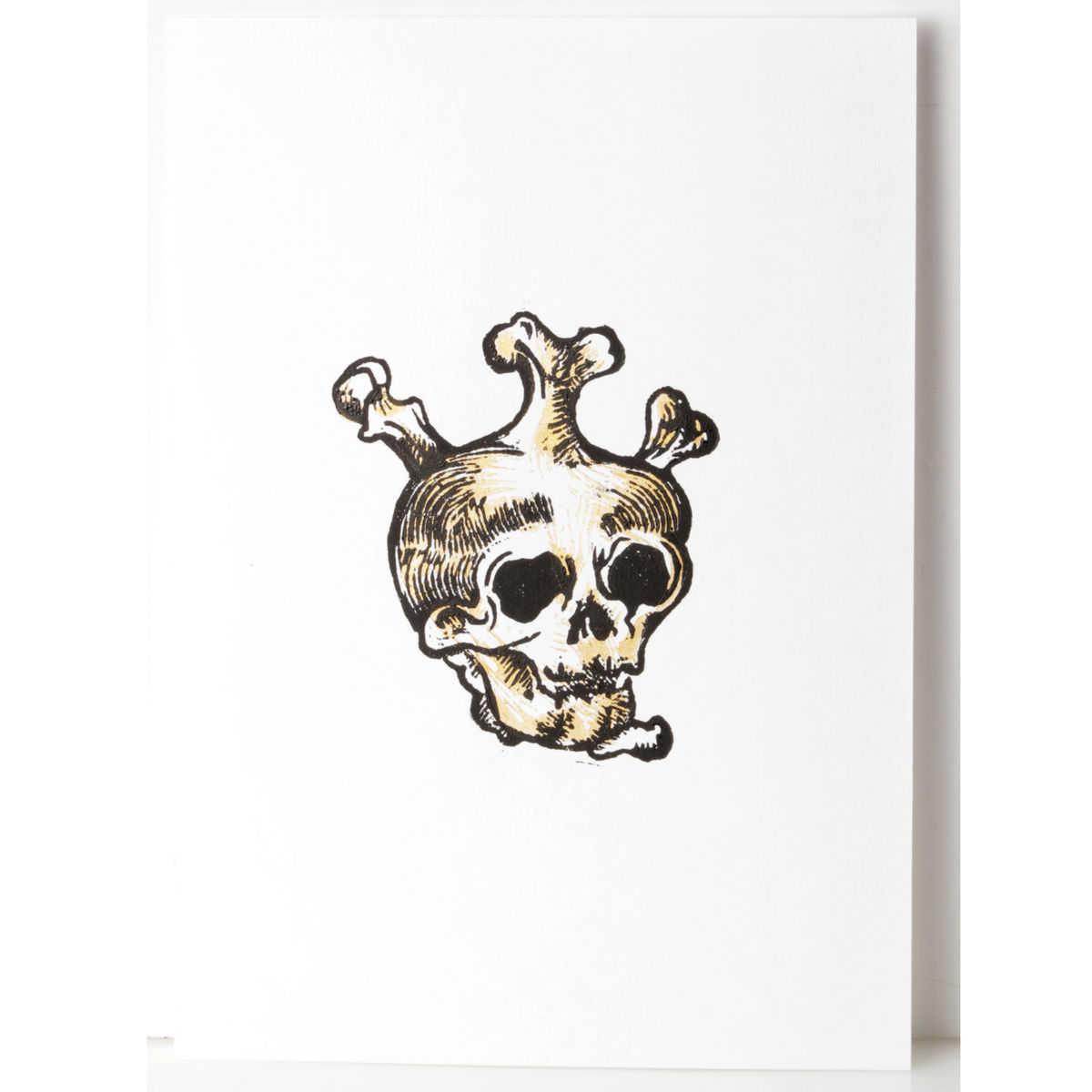SkullHeart Black and Gold Original Print Linocut - product images  of