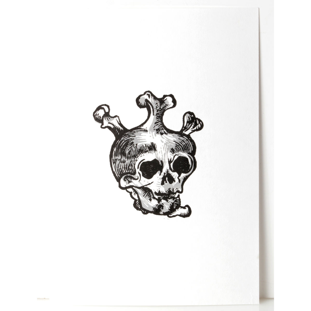 SkullHeart Black and Grey Original Print Linocut - product images  of