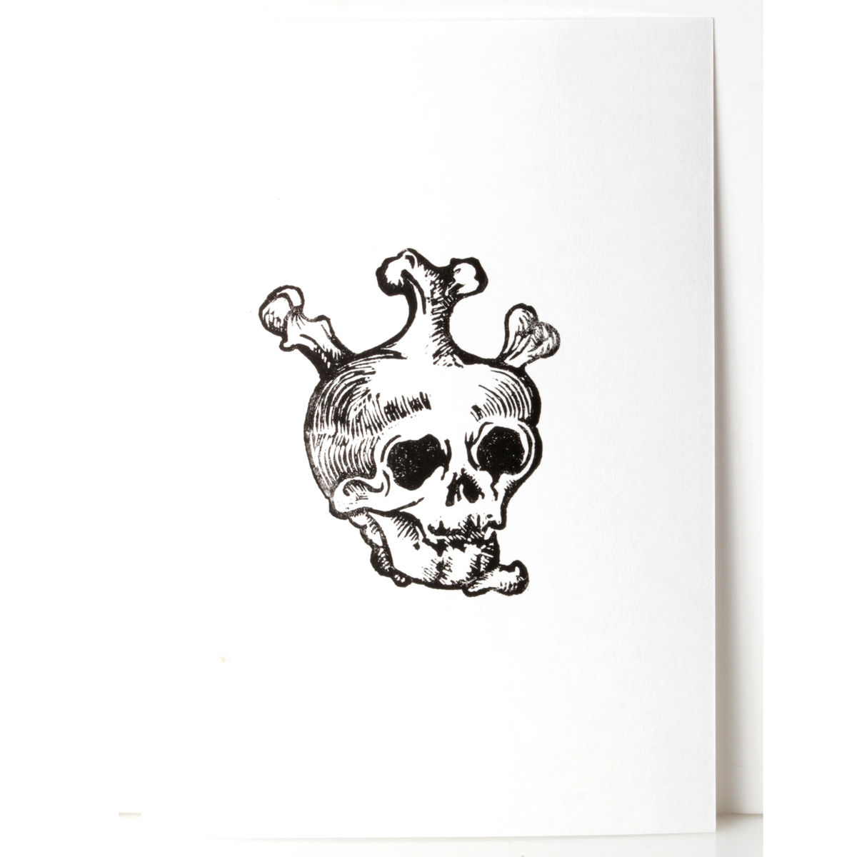 SkullHeart Black Original Print Linocut - product images  of