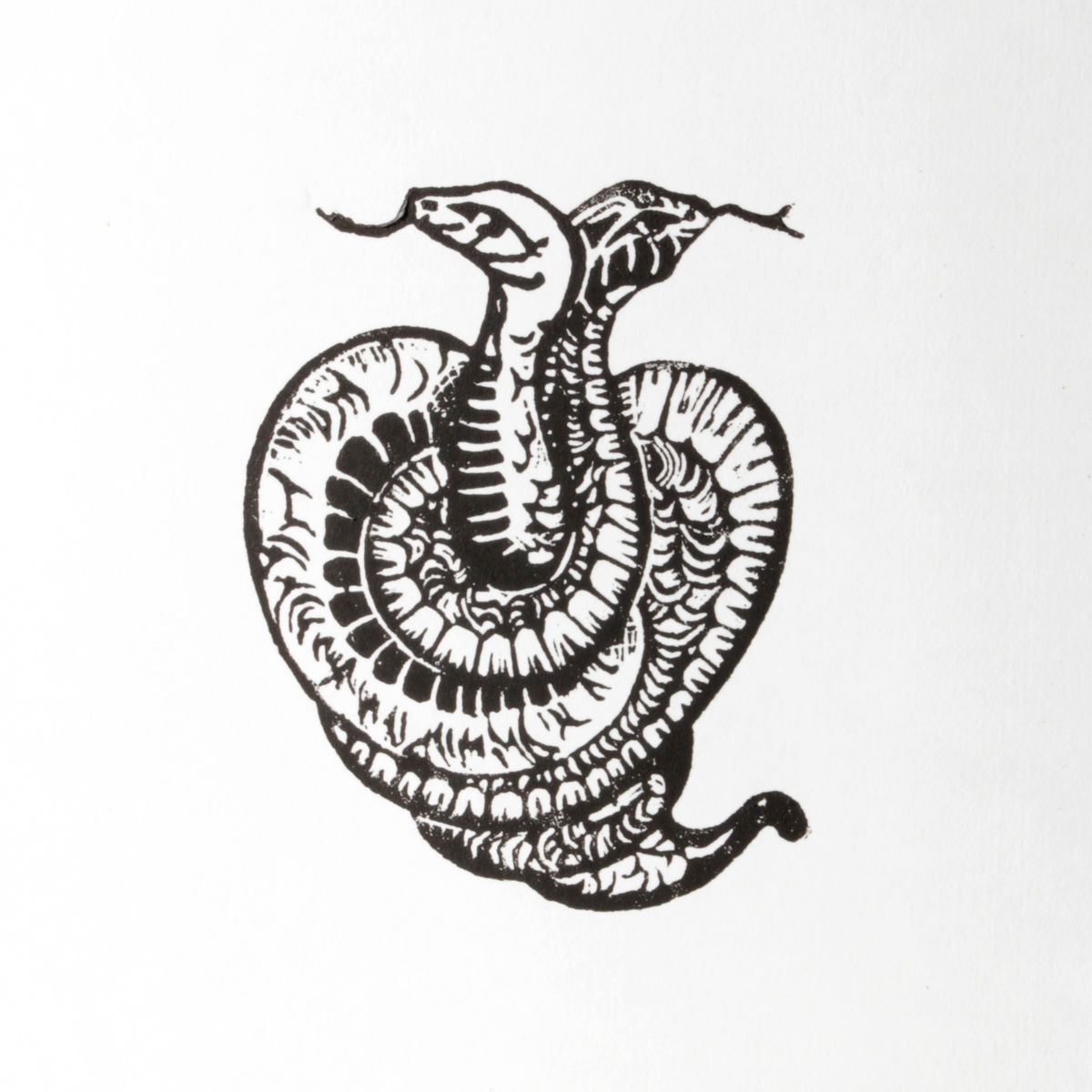 SnakeHeart Black Original Print Linocut - product images  of