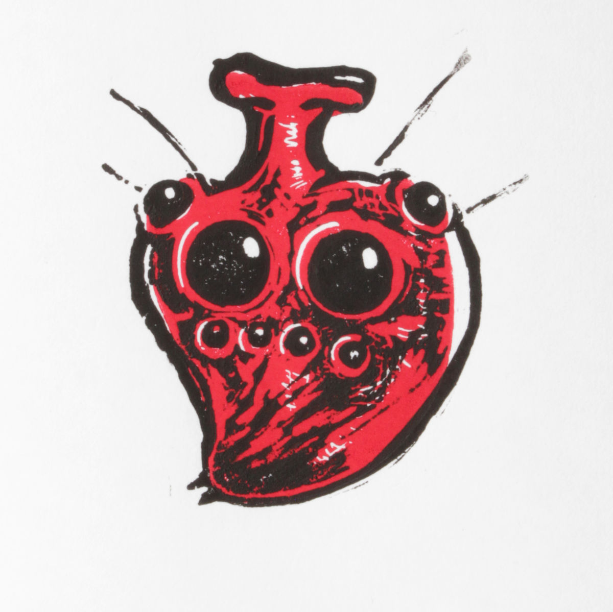 SpiderHeart Black and Red Original Print Linocut - product image