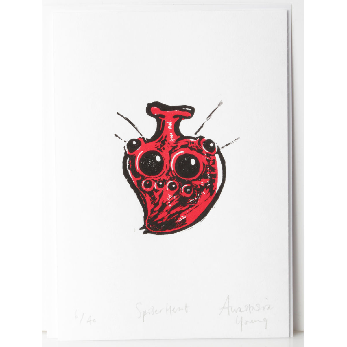 SpiderHeart Black and Red Original Print Linocut - product images  of