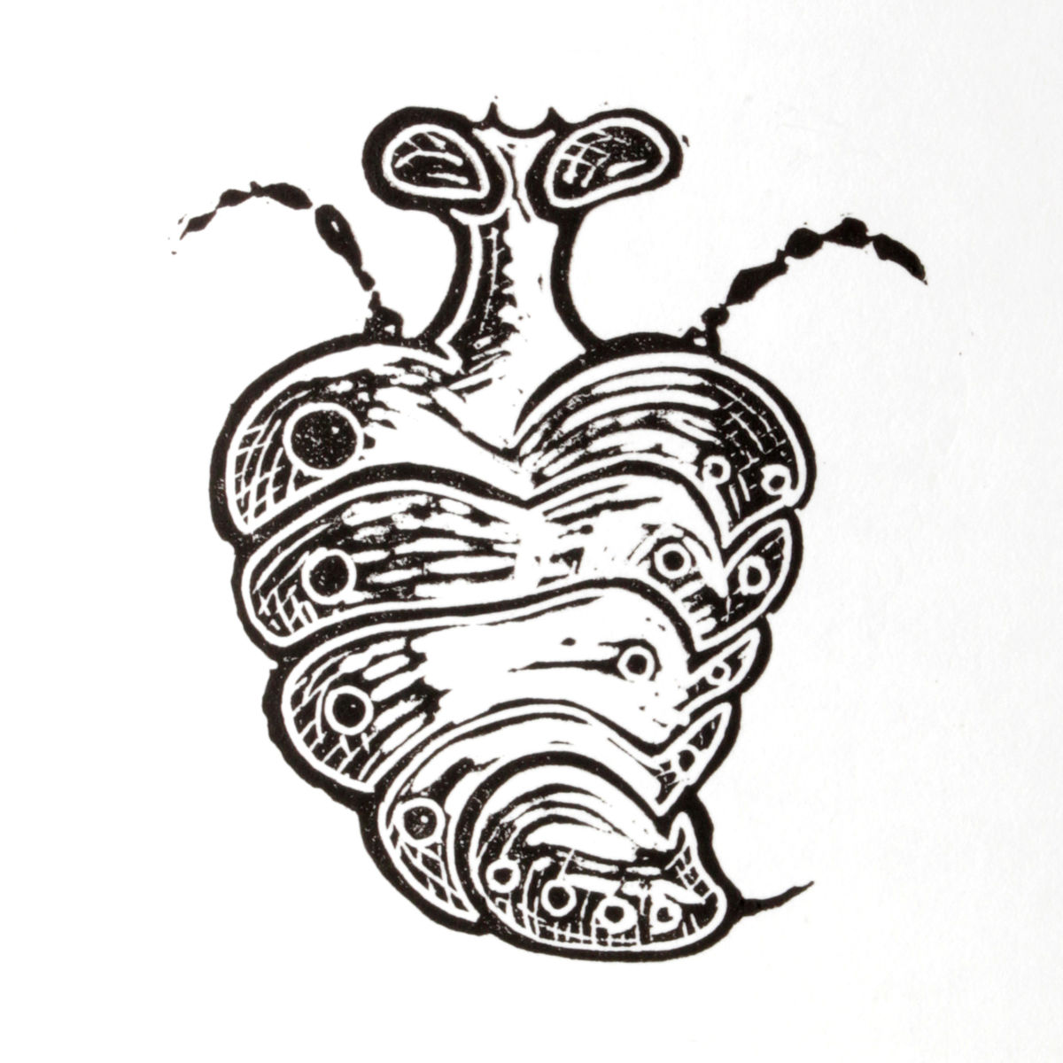 WaspHeart Black Original Print Linocut - product images  of