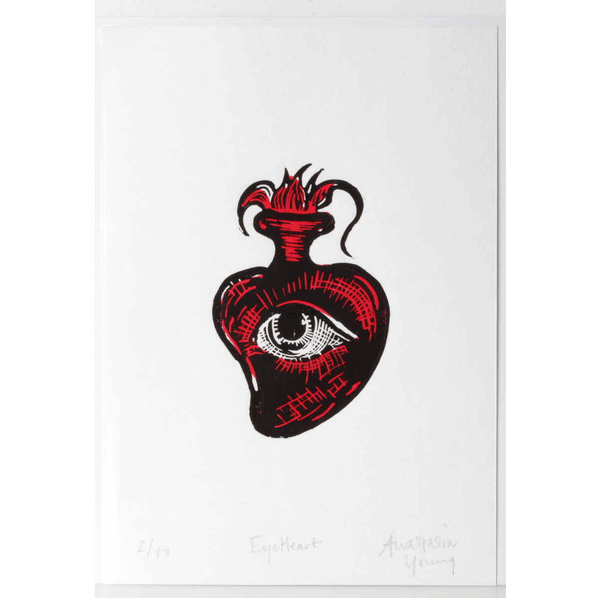 EyeHeart Black and Red Original Print Linocut - product images  of