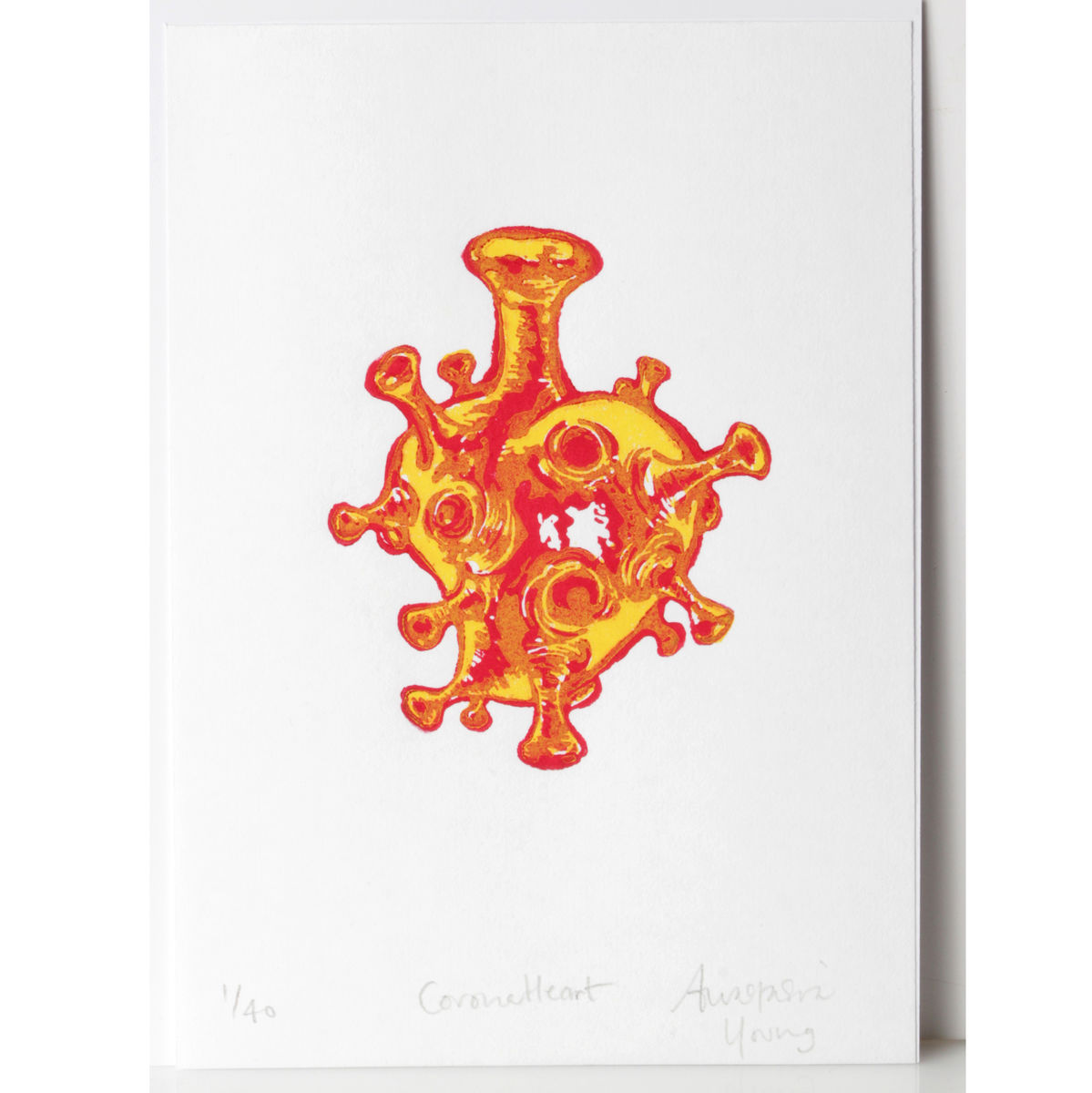 CoronaHeart Yellow and Red Original Print Linocut - product images  of